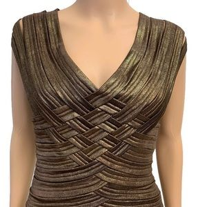 Tadashi Collection Metallic Bronze Evening Dress